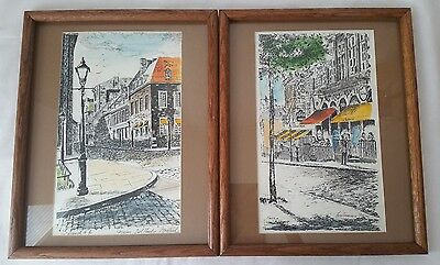 A set of Water color, Ink, Print Artist singed Simard and Framed