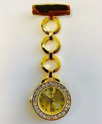 NEW DESIGNER GOLD COLOUR Stainless Steel Nurse Watch Brooch Tunic Fob Watches UK