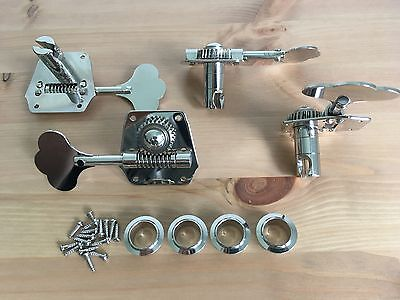 Gotoh GB8 Vintage Reverse Gear Bass Tuners Open Nickel