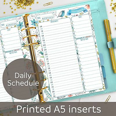 A5 Daily Schedule planner inserts - Appointment Book - Filofax A5, Kikki K