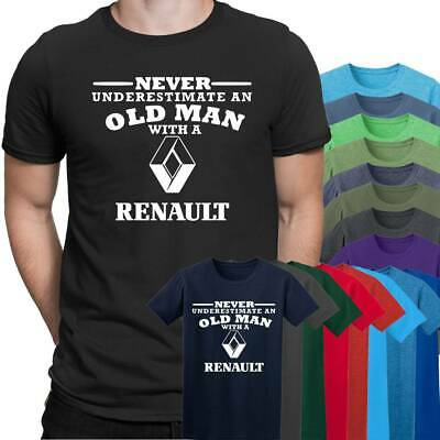 Renault Never Underestimate an Old Man Mens T Shirt  Size S - 5XL Black T shirt
