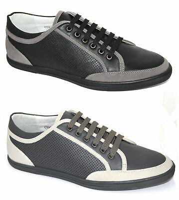 Mens Black Grey Leather Look Plimsole Trainers Casual Smart Lace Up