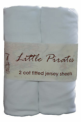 2 x Baby Cot Fitted sheet 60x120 100% cotton jersey BNIP White