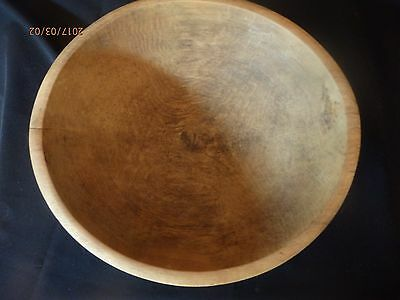 """Antique Hand Turned Wooden10 1/4-10/3/4"""" Dough Bowl"""