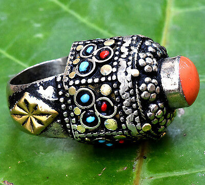 Afghan Kuchi Tribal Tower Ring Ethnic Jewelry Carved Hippie Bohemian Boho Gypsy