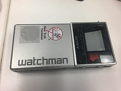 Vintage Sony Watchman Portable Flat black and White TV & Case Yankees