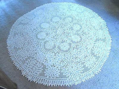 Exquisite & Impressive Antique Round Tablecloth 80""