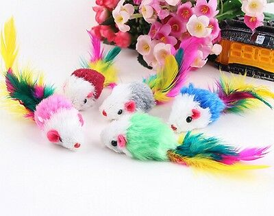 Mini Mouse Cat Toys Colourful Plush Feather Tail Kitten Cat Playtime *PACK OF 5*