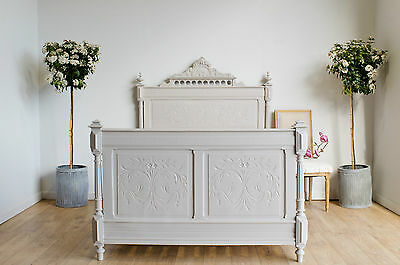 Antique French 19th Century Carved Double Bed with Slats Painted Farrow & Ball