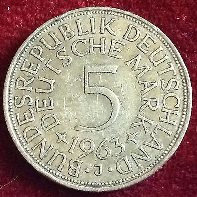 1963 J  Germany Silver 5 Mark Coin