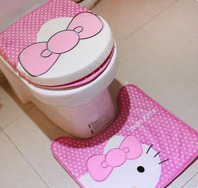 3pcs/set Cute Bow Hello Kitty Bathroom Toilet Lid Cover Potty set Feet Pad Pink