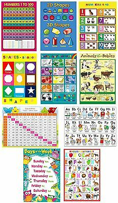 wow 10X CHILDRENS KIDS EDUCATIONAL LEARNING POSTERS CHART A4 NURSERY SCHOOL HOME