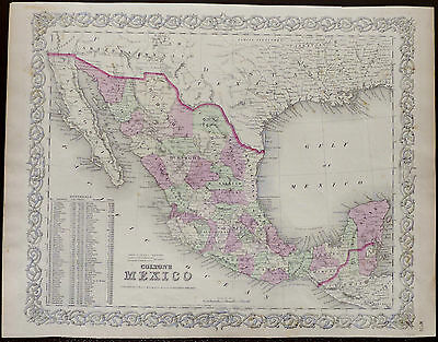1866 Colton's Map of Mexico. Hand Colored Engraving