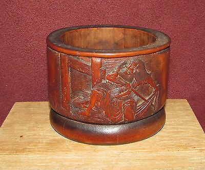 Antique Japanese or Chinese Bamboo Brush Pot Signed