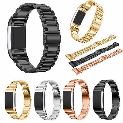 Stainless Steel Link Bracelet Watch Band Strap pour Fitbit Charge 2 Smart Watch
