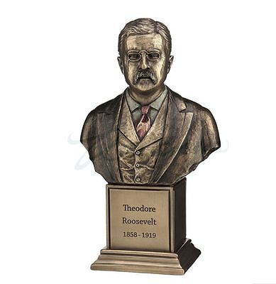 Theodore Roosevelt Bust Statue Sculpture Figure  - Gift Boxed