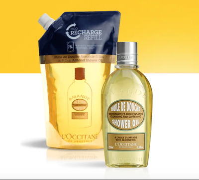 L'Occitane Almond Shower Oil 250ml+500ml Eco-Refill Set Hydrate Nourish FreePost