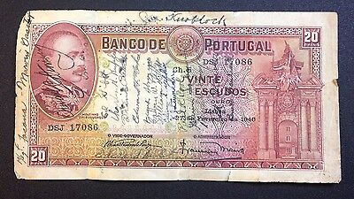 1940 20 Escudos Portugal Banknote. Signed. Very Interesting