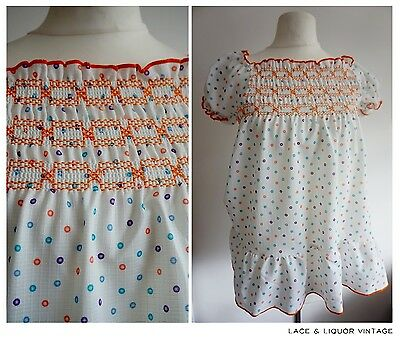 LOVELY RETRO vtg 1970s POLKA DOT RUCHED GIRLS SMOCK DRESS AGE 6 YRS ORANGE BLUE