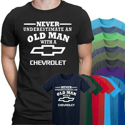 Chevrolet Never Underestimate an Old Man Mens T Shirt Dad Grandad S - 5XL Black