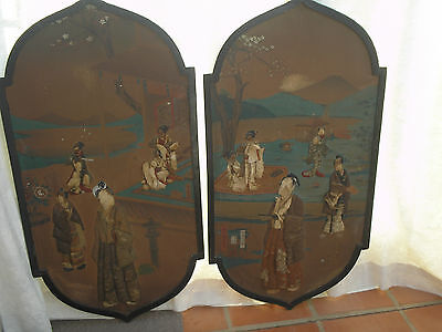 Vintage Pair Wood Panels Hangings Embroidery/textile Decoration Chinese Restore