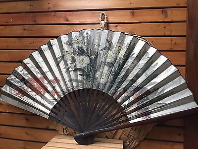 Mid Century Giant Japanese Wall Fan - Wall Hanging - Iridescent Hand Painted