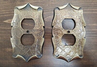 Pair 2 Vintage Amerock Carriage House Antique Brass Single Outlet Cover Plate