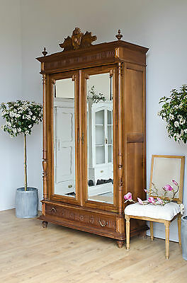 Antique French Knockdown Wardrobe Armoire with Double Mirrored Doors Drawers