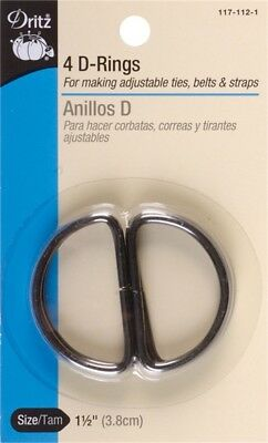 "Dritz 117-112-1  Metal ""D"" Rings 1-1/2"" 4/Pkg-Black (6Pk)"