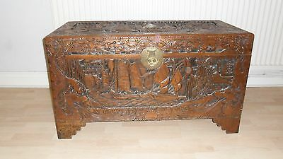Oriental Camphor Wood Carved Chest Blanket Box