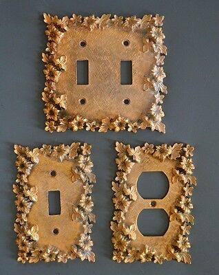 3 Vintage Florenta of Calif Ornate Brass Light Switch Plates and Outlet Cover