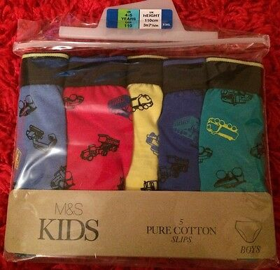M&S 5 Boy Pure Cotton Slips (Briefs) Age 4-5 BNWL