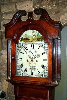 Lovely little Lincolnshire Oak, Mahogany & Inlaid Grandfather Clock C1835