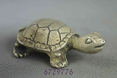 collection handwork old miao silver carve cute tortoise auspicious lucky statue