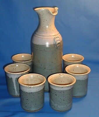 Mary Schlafmann ~ Handcrafted Stoneware Art Pottery ~ Wine Set Carafe & 6 Cups