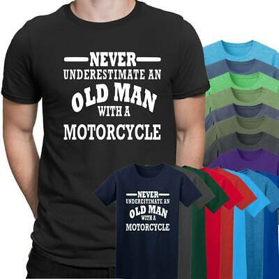 Motorcycle Never Underestimate an Old Man Mens T Shirt  Size S - 5XL Black