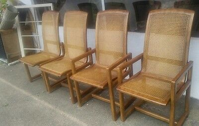 DREXEL HERITAGE MID CENTURY MODERN Cane Dining Chairs   Set Of 4 (2 With  Arms