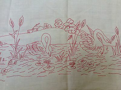 VIntage Turkey Red linen runner SWANS IN WATER 34 x 21 OLD primitive embroidery