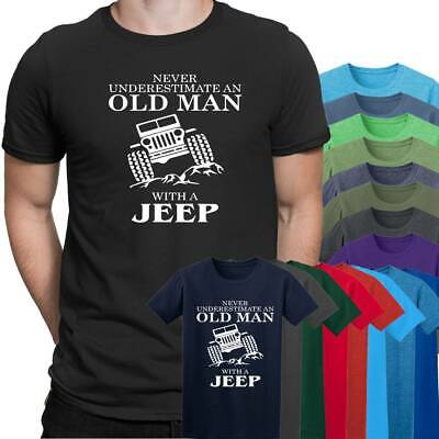Jeep A Mountain Never Underestimate an Old Man Mens T Shirt  Size S - 5XL Black