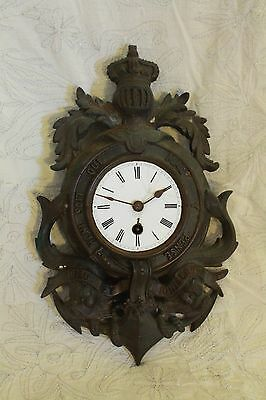 "Antique French ""Order of the Garter"" Bronze Wall Clock 1880s Rare Military piece"