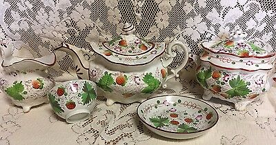 Early Staffordshire Pearlware Tea Set Strawberry Pot, Creamer. Sugar, Cup Saucer