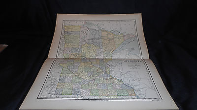 Antique Map Ninnesota 1882 Color Map  13 X 10 3/4  See Others In Store