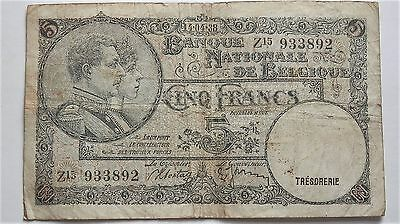 1938 Ww2 Era Belgium Banknote 5 Francs Good Condition