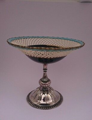 Victorian Porcelain Bon Bon Dish on Silver Plated Stand. W Hutton &Sons