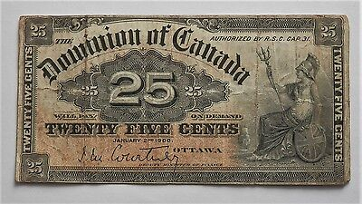 Old Canada Dominion 1900 25 Cent Banknote , Good Condition
