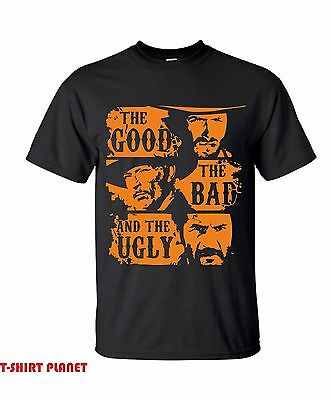 The Good The Bad & The Ugly -T-Shirt,Classic Spaghetti Western Movie free delive