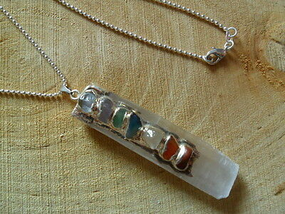 Selenite Pendant Crystal Chakra Reiki Gemstone Moon Healing Necklace Chain Gift