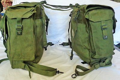British Army Post War Olive Green Pair Of Motorcycle Panniers New