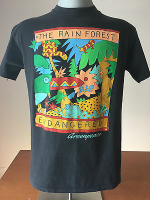 1988 GREENPEACE T-Shirt VTG Vintage Tee RAIN FOREST ENDANGERED Made in USA XL