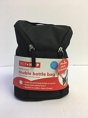 Skip Hop Grab and Go Insulated Double Bottle Bag Black Attaches to Strollers